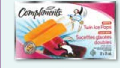Compliments Assorted Twin Ice Pops - 24-pack
