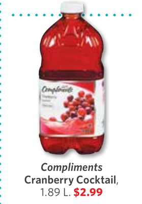 Compliments Cranberry Cocktail - 1.89 L