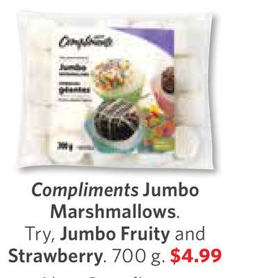 Compliments Jumbo Marshmallows. Try - Jumbo Fruity and Strawberry. 700 g