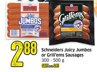 Schneiders Juicy Jumbos or Grill'ems Sausages 300 - 500 g