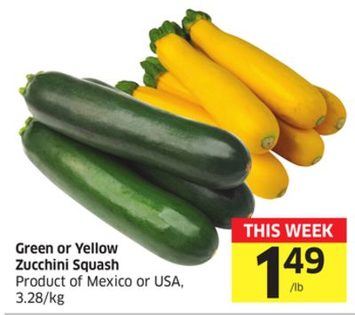 Green or Yellow Zucchini Squash Product of Mexico or USA - 3.28/kg