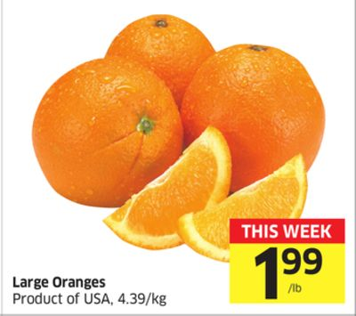 Large Oranges Product of USA - 4.39/kg