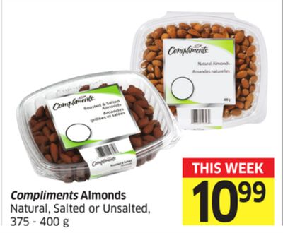 Compliments Almonds Natural - Salted or Unsalted - 375 - 400 g
