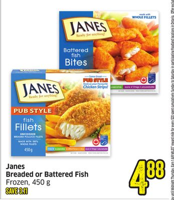 Janes Breaded or Battered Fish Frozen - 450 g