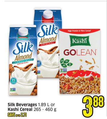 Silk Beverages 1.89 L or Kashi Cereal 265 - 460 g