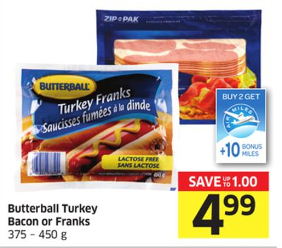 Butterball Turkey Bacon or Franks 375 – 450 g - 10 Bonus Air Miles