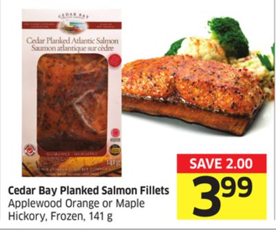 Cedar Bay Planked Salmon Fillets Applewood Orange or Maple Hickory - Frozen - 141 g