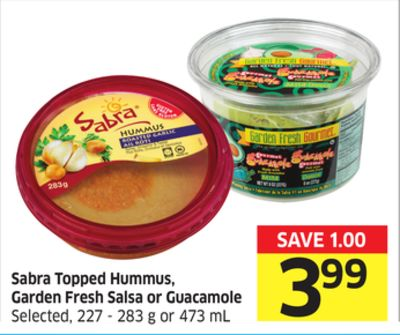 Sabra Topped Hummus - Garden Fresh Salsa or Guacamole Selected - 227 - 283 g or 473 mL