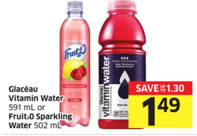 Glacéau Vitamin Water 591 mL or Fruit20 Sparkling Water 502 mL