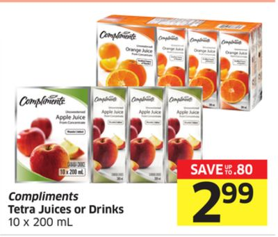 Compliments Tetra Juices or Drinks 10 X 200 mL
