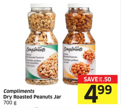 Compliments Dry Roasted Peanuts Jar 700 g