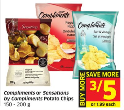 Compliments or Sensations By Compliments Potato Chips 150 - 200 g
