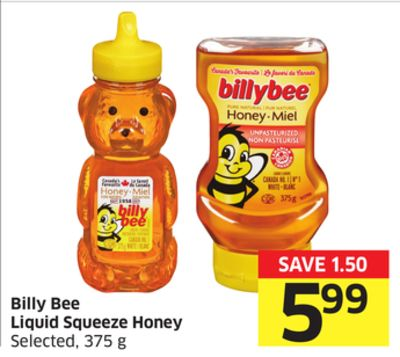 Billy Bee Liquid Squeeze Honey Selected - 375 g