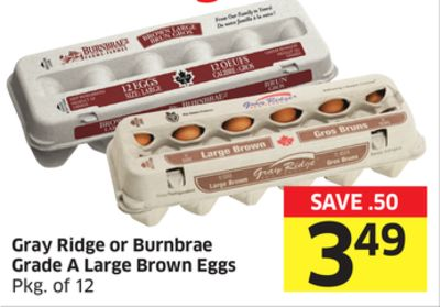 Gray Ridge or Burnbrae Grade A Large Brown Eggs Pkg of 12