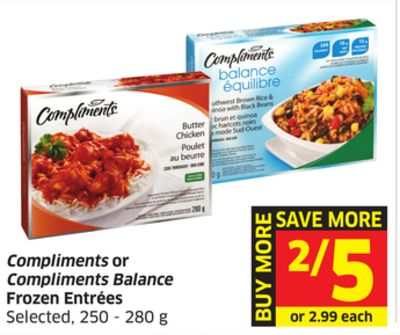 Compliments or Compliments Balance Frozen Entrées Selected - 250 - 280 g