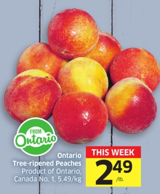 Ontario Tree-ripened Peaches Product of Ontario - Canada No. 1 - 5.49/kg