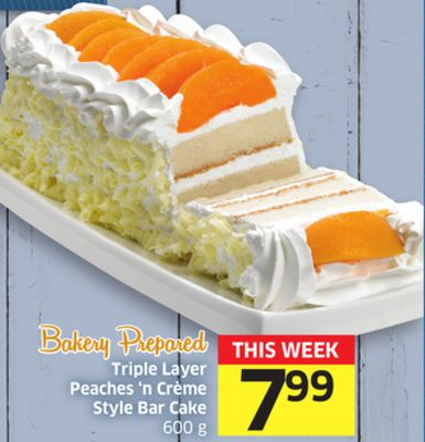 Triple Layer Peaches 'N Crème Style Bar Cake 600 g