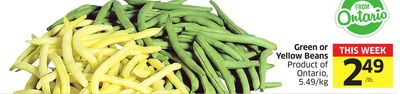 Green or Yellow Beans Product of Ontario - 5.49/kg