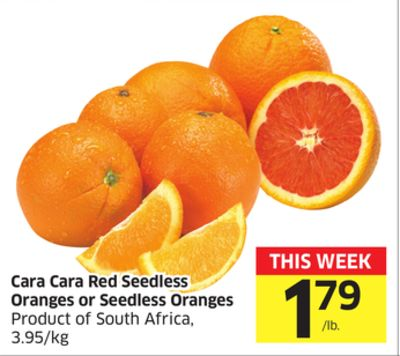 Cara Cara Red Seedless Oranges or Seedless Oranges Product of South Africa - 3.95/kg