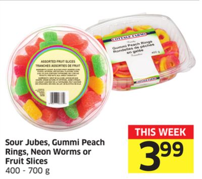 Sour Jubes - Gummi Peach Rings - Neon Worms or Fruit Slices 400 - 700 g
