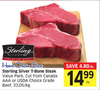 Sterling Silver T-bone Steak Value Pack - Cut From Canada Aaa or Usda Choice Grade Beef - 33.05/kg
