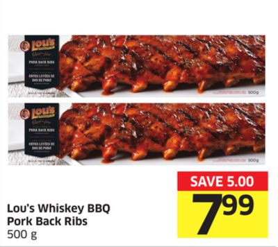 Lou's Whiskey Bbq Pork Back Ribs 500 g