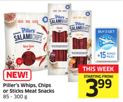 Piller's Whips - Chips or Sticks Meat Snacks 85 - 300 g - 15 Air Miles Bonus Miles