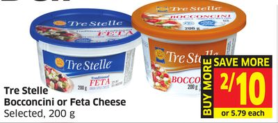 Tre Stelle Bocconcini or Feta Cheese Selected - 200 g