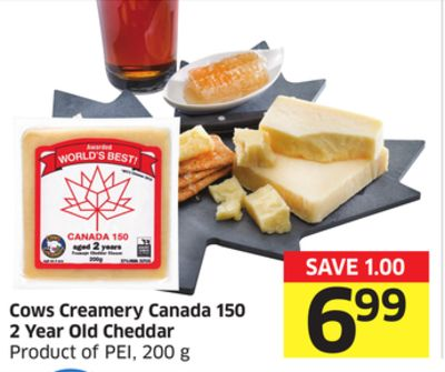 Cows Creamery Canada 150 2 Year Old Cheddar Product of Pei - 200 g