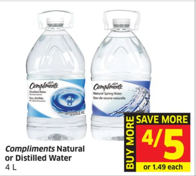 Compliments Natural or Distilled Water 4 L