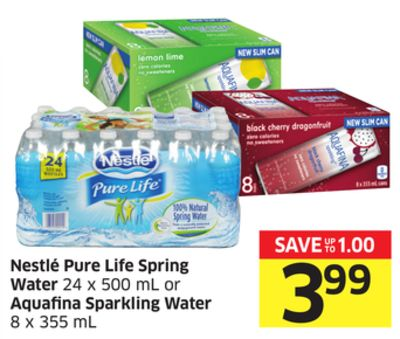 Nestlé Pure Life Spring Water 24 X 500 mL or Aquafina Sparkling Water 8 X 355 mL