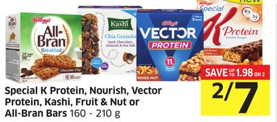 Special K Protein - Nourish - Vector Protein - Kashi - Fruit & Nut or All-bran Bars 160 - 210 g