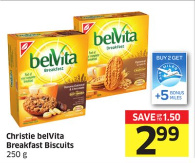 Christie Belvita Breakfast Biscuits 250 g - 5 Air Miles Bonus Miles