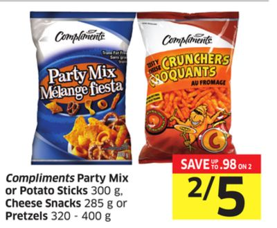 Compliments Party Mix or Potato Sticks 300 g - Cheese Snacks 285 g or Pretzels 320 - 400 g