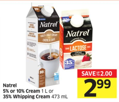 Natrel 5% or 10% Cream 1 L or 35% Whipping Cream 473 mL