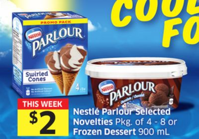Nestlé Parlour Selected Novelties Pkg of 4 - 8 or Frozen Dessert 900 mL