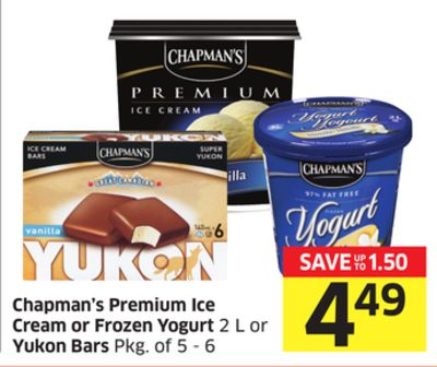 Chapman's Premium Ice Cream or Frozen Yogurt 2 L or Yukon Bars Pkg of 5 - 6