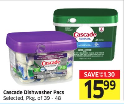 Cascade Dishwasher Pacs Selected - Pkg of 39 - 48