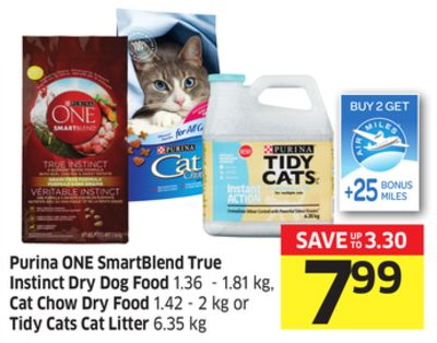 Purina One Smartblend True Instinct Dry Dog Food 1.36 - 1.81 Kg - Cat Chow Dry Food 1.42 - 2 Kg or Tidy Cats Cat Litter 6.35 Kg - 25 Air Miles Bonus Miles