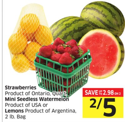 Strawberries Product of Ontario - Quart - Mini Seedless Watermelon Product of USA or Lemons Product of Argentina - 2 Lb. Bag