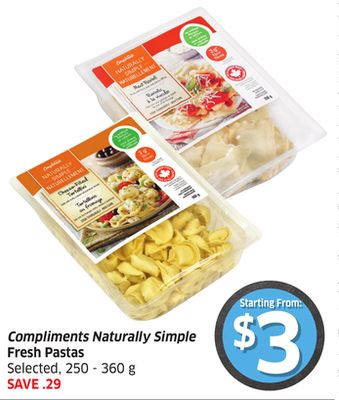 Compliments Naturally Simple Fresh Pastas Selected - 250 -360 g