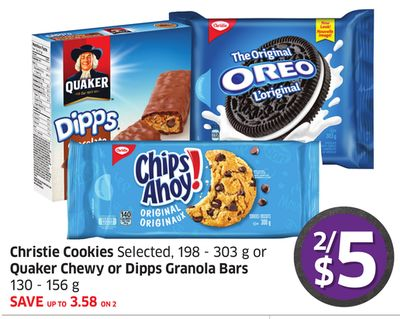 Christie Cookies Selected - 198 - 303 g or Quaker Chewy or Dipps Granola Bars 130 - 156 g