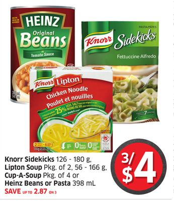 Knorr Sidekicks 126 - 180 g - Lipton Soup Pkg of 2 - 56 - 166 g - Cup-a-soup Pkg of 4 or Heinz Beans or Pasta 398 mL