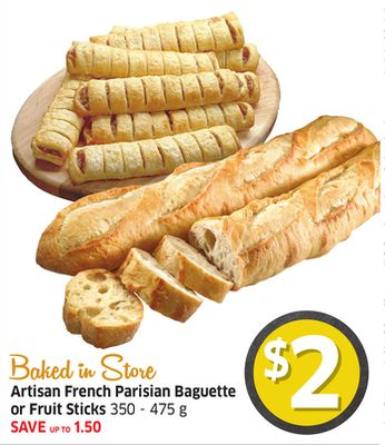 Artisan French Parisian Baguette or Fruit Sticks 350 - 475 g