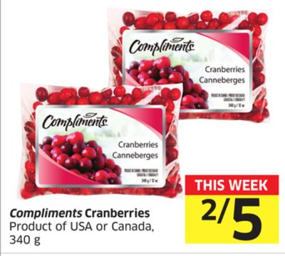 Compliments Cranberries Product of USA or Canada - 340 g
