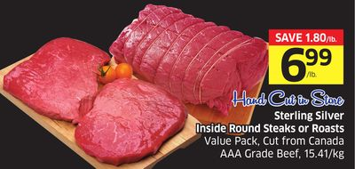 Sterling Silver Inside Round Steaks or Roasts Value Pack - Cut From Canada Aaa Grade Beef - 15.41/kg
