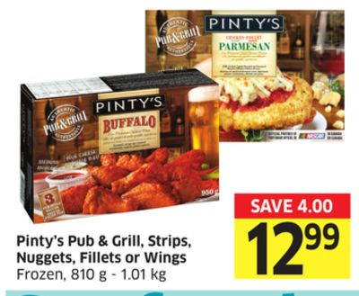 Pinty's Pub & Grill - Strips - Nuggets - Fillets or Wings Frozen - 810 g - 1.01 Kg