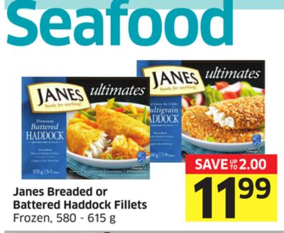 Janes Breaded or Battered Haddock Fillets Frozen - 580 - 615 g