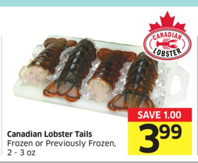 Canadian Lobster Tails Frozen or Previously Frozen - 2 - 3 Oz