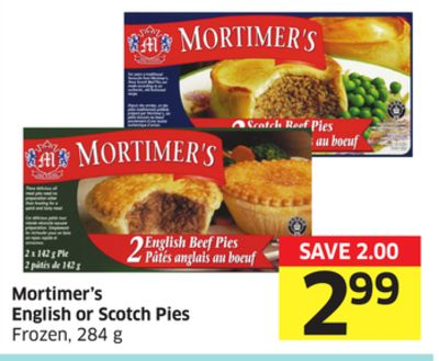 Mortimer's English or Scotch Pies Frozen - 284 g